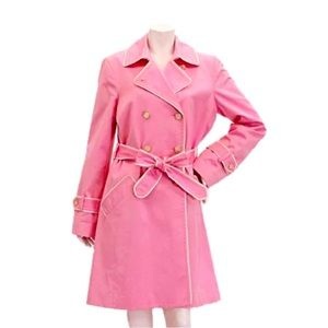 NWOT Coach Pink White Belted Trench Coat M